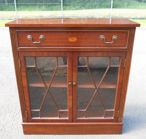 Mahogany Inlaid Bookcase Side Cabinet